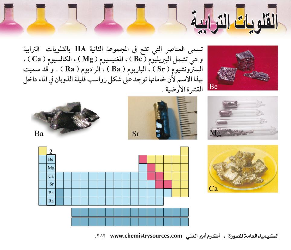 الكيمياء العامة المصورة - القلويات الترابية