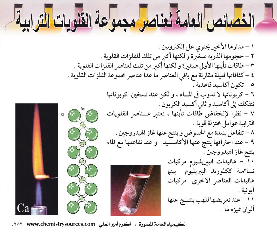 الكيمياء العامة المصورة - الخصائص العامة لعناصر مجموعة القلويات الترابية