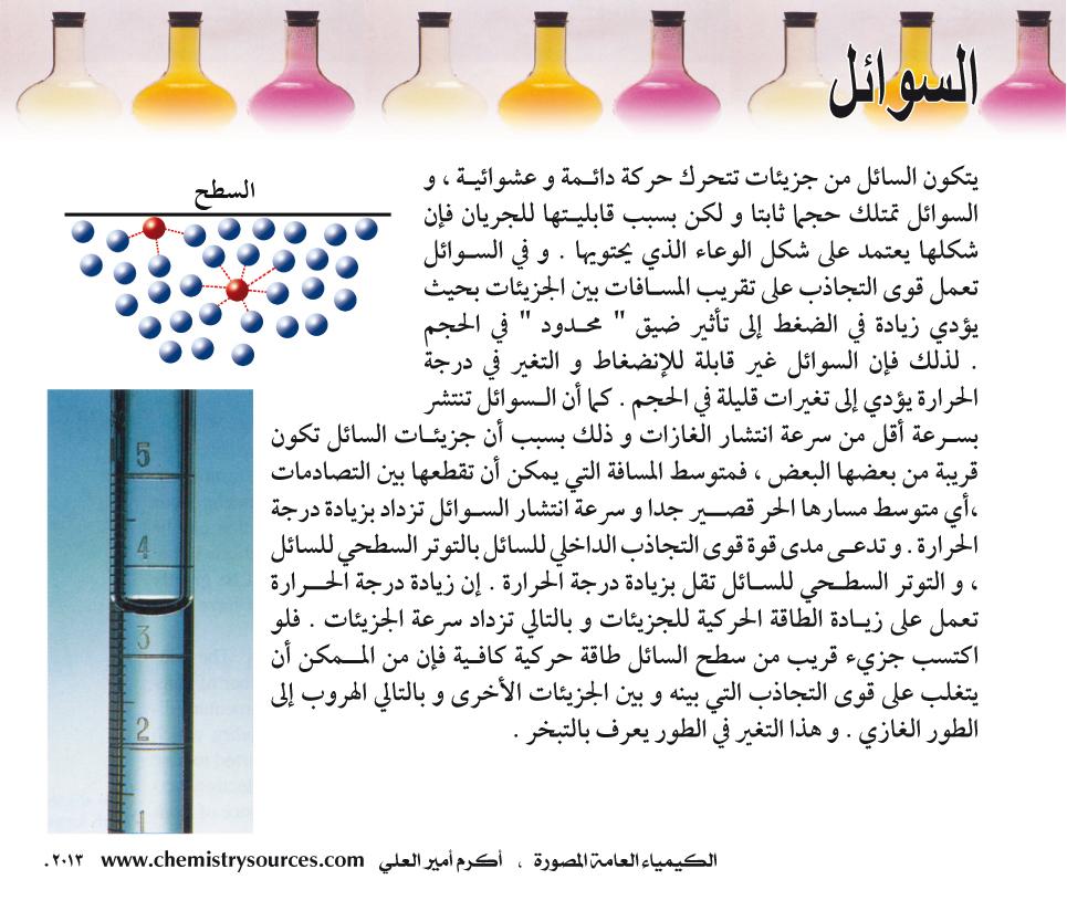 الكيمياء العامة المصورة - السوائل