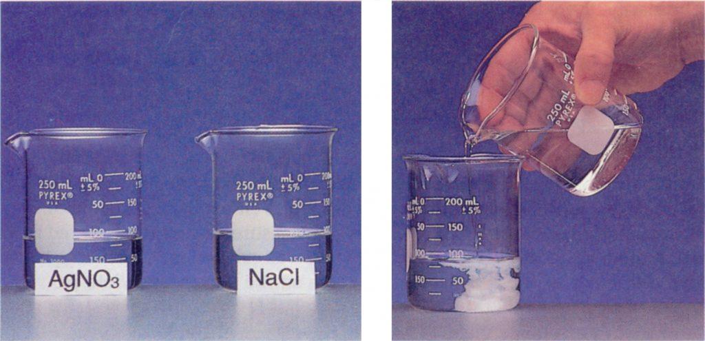 تفاعل محلول الكلوريد مع محلول نيترات الفضة (نترات الفضة)