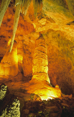 Stalactites and stalagmites in Carlsbad Caverns, New Mexico.