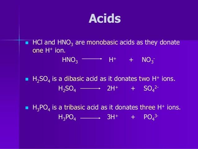 حمض أحادي القاعدية monobasic acid