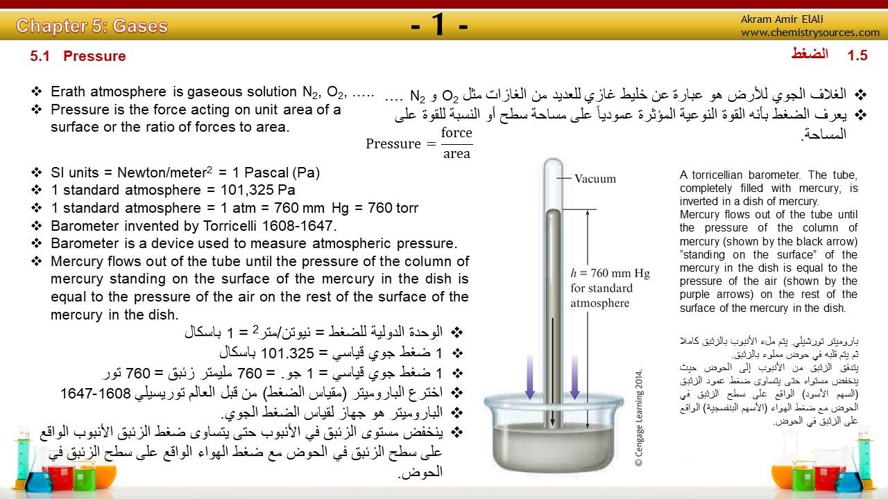 ملخص الفصل الخامس :الغازات من كتاب الكيمياء للعالم زومدال