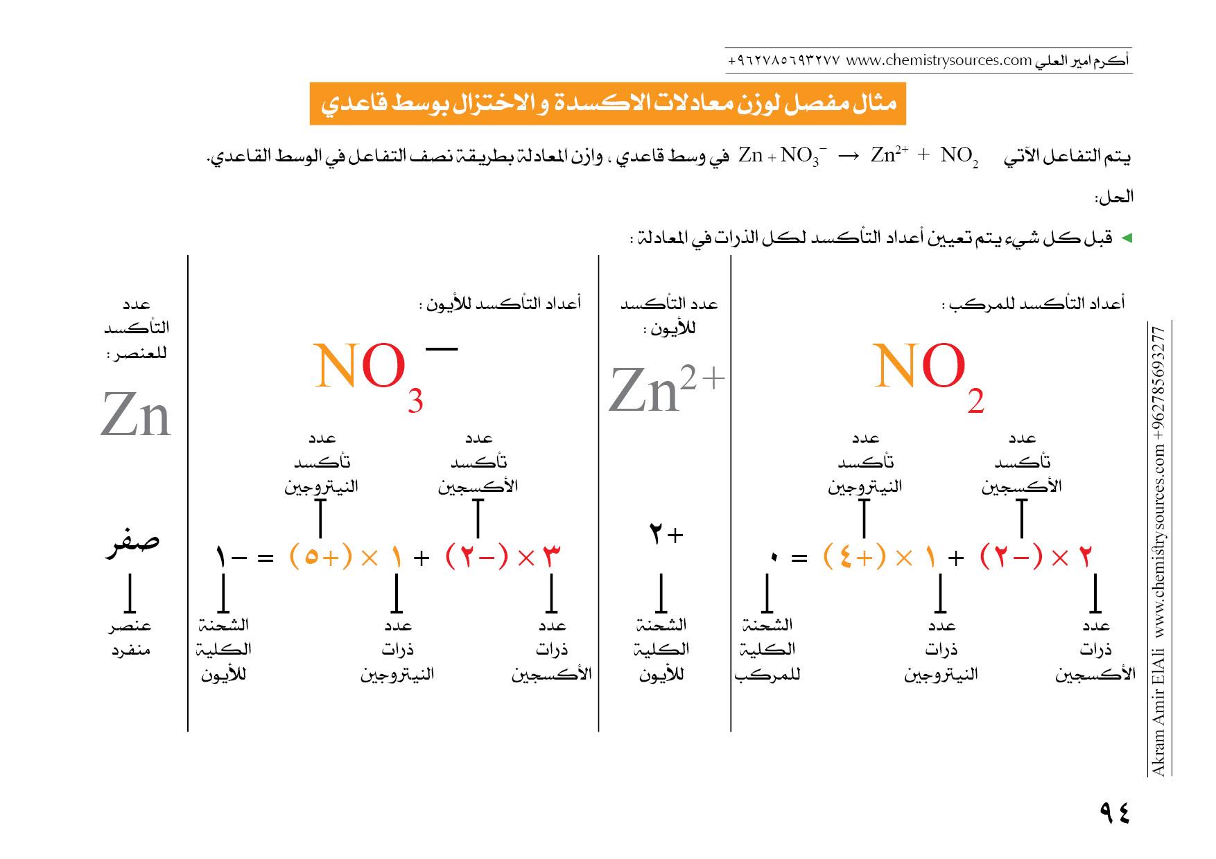 موازنة معادلات التأكسد و الاختزال بطريقة نصف التفاعل أيون إلكترون في الوسط القاعدي مصادر الكيمياء