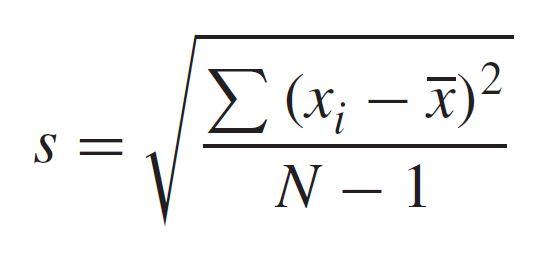 معادلة الانحراف المعياري